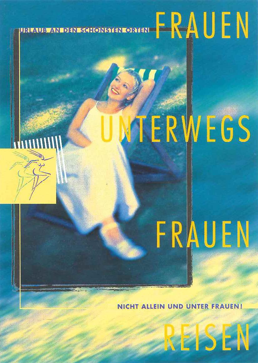 Frauen Unterwegs-Frauen Reisen - Postkarte Frau im Liegstuhl